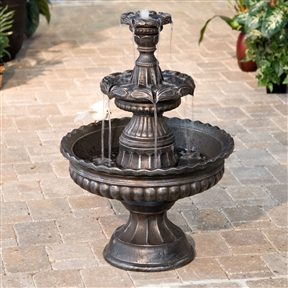 3-Tier Fountain in Outdoor Weather Resistant Resin - Bronze Finish, COF968418515 :  Enjoy the serene sounds of falling water from the comfort of your garden or patio with this 3-Tier Fountain in Outdoor Weather Resistant Resin - Bronze Finish. It is made from weather-resistant resin with a beautiful bronzed finish that accentuates each detail of its classic, Old World design. Certain to add charm and an air of grace to any setting, this fountain will bring soothing sounds and genuine beauty that will take you a world away from the comfort of your own backyard. It comes complete with a water pump and requires no plumbing. Perfect for your patio or in your garden; International Shipping Canada; Light No; Location Outdoor; Material Resin & Fiberglass; Style Tiered, Pedestal; Type Floor; Usage Residential; Water Sound High.