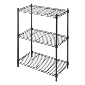 Small 3-Shelf Storage Rack Shelving Unit in Black Metal with Adjustable Leveling Feet, WS3SU3491 :  Expand the shelf space in your kitchen, laundry room, basement, bathroom, office or anywhere you need extra storage throughout the house with this Small 3-Shelf Storage Rack Shelving Unit in Black Metal with Adjustable Leveling Feet. This durable shelf unit is constructed of heavy duty black epoxy steel featuring shelves that each has a 200 lb. capacity. The adjustable leveling feet add stability on any floor surface. Set up is easy with no tools required. Shelves carry a 10 year limited warranty. Measures 13.11-inches L x 23.15-inches W x 29.90-inches H.