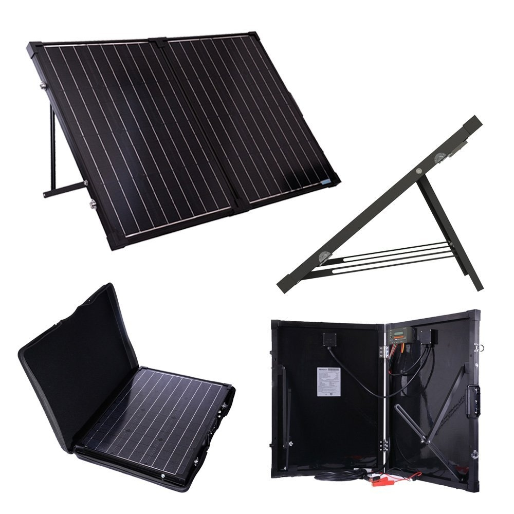100 Watt Folding Solar Suitcase Batter Charger, RFSB26954 :  This 100 Watt Folding Solar Suitcase Batter Charger 100W combines highly efficient Renogy Solar Panels and a durable, fully waterproof 10 Amp PWM Solar Charge Controller to create an easy-to-use, 'plug and play' system. This system is specifically designed for mobile off-grid applications, where space and weight limitations are abundant. The Solar Suitcase 100W supports 12V deep cycle battery varieties such as sealed lead acid, gel, AGM and flooded. With built-in tilting stands, these panels can be adjusted at different angles to maximize the power output throughout the seasons. The alligator clips included in this package make it easy to connect the panel to a battery in seconds. If one ever needs to connect a battery with a different type of end terminal, the alligator clips are attached via an Anderson plug connector. Such a connection makes it convenient to adapt custom wiring. Open Circuit Voltage (Voc): 21.6V; Maximum Power Voltage (Vmp): 17.5V; Short Circuit Voltage (Isc): 6.17A; Maximum Power Current (Imp) 5.71A.