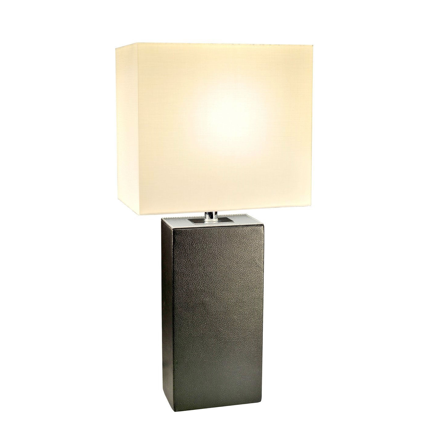 This fashionable table lamp, with its black leather body and white fabric shade, will add style and pizazz to any room. We believe that lighting is like jewelry for your home. Our products will help to enhance your room with elegance and sophistication.
