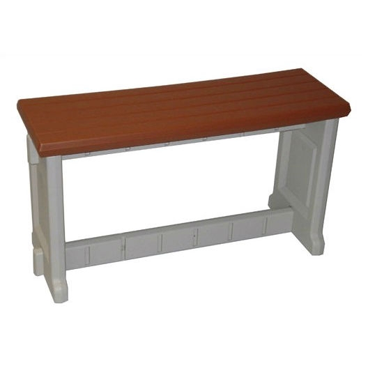 36-inch Plastic Outdoor Garden Picnic Bench with Redwood Color Seat, POB5743R :  This 36-inch Plastic Outdoor Garden Picnic Bench with Redwood Color Seat would be a great addition to your home. It is maintenance free and has a lightweight all plastic construction. Sturdy all plastic construction; Weather Resistant Details: Weatherproof; Assembly Required: Yes; Product Warranty: 1 Year; Tools Needed for Assembly: Rubber mallet; Style: Contemporary; Seat Material: Plastic Frame; UV Resistant: Yes; Mildew Resistant: Yes; Fade Resistant: Yes; Product Care: Clean with detergent; Country of Manufacture: United States.
