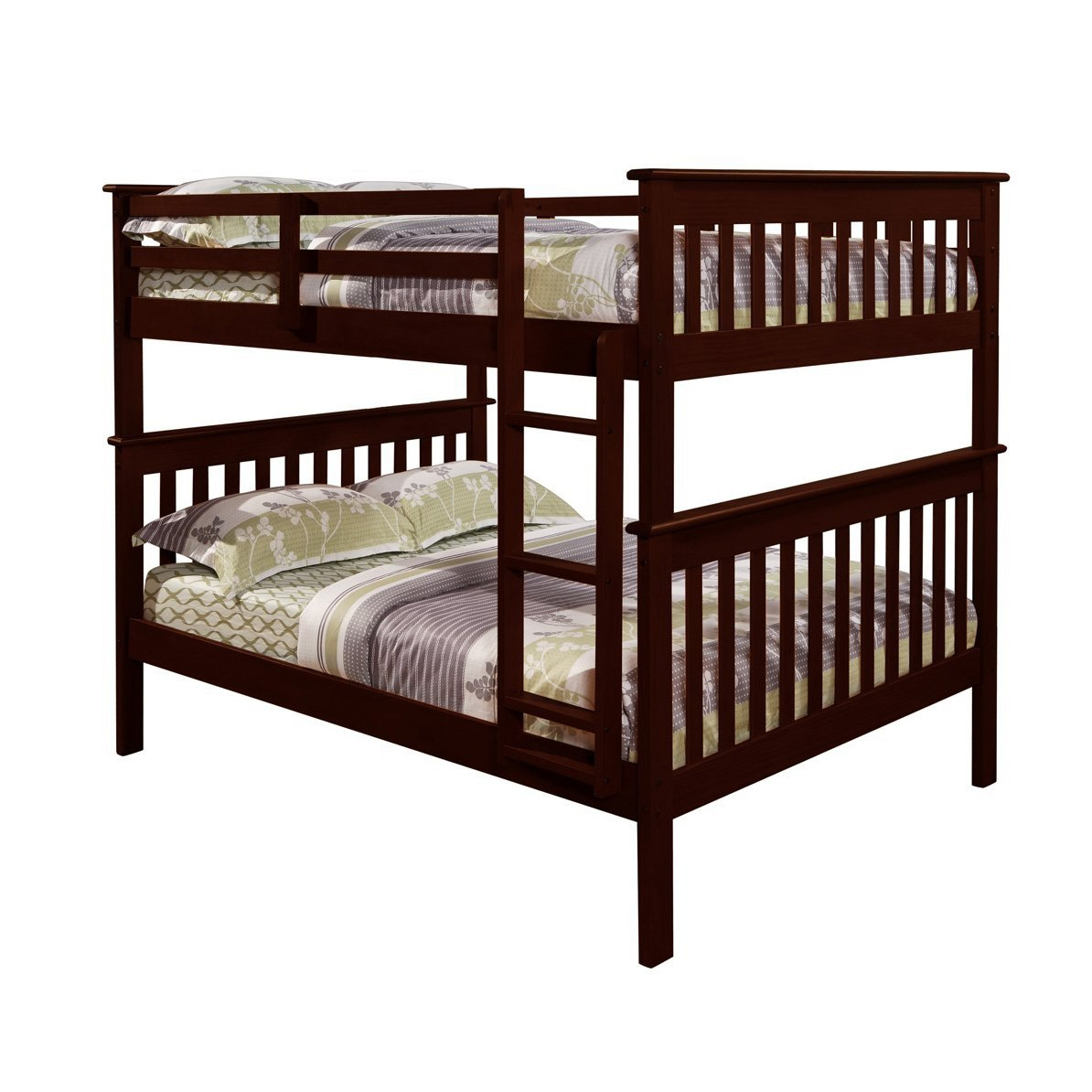 "Solid Wood Full Over Full Bunk Bed in Cappuccino Finish, DBF39661 :  Room to stretch out is the key to this Solid Wood Full Over Full Bunk Bed in Cappuccino Finish's popularity. At MOM'S safety comes first, so all of our bunk beds are strongly constructed and rigorously tested in independent labs to meet or exceed ASTM and CPSC safety standards. Guardrails are included for the top bunk. Ladder rungs are flat, not vertical, for your child's comfort and easy access to the top bunk. All wood is fully sanded and sealed with a clean smooth coating to prevent splinters. All of our finishes are child-safe and lead free. Each bunk comes with a slat roll foundation to provide secure support for a standard full size mattress (54"" x 74""). The bottom bunk is 11"" off the floor and the space between the bottom bunk slats and top bunk slats is 30"". The bed is solid wood making it a practical and durable choice for kids rooms. This design can be separated into 2 separate full size beds for versatility."