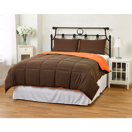 Whether you are looking for a comforter to match your diehard obsession with a sports team or just like to change things up, this King/CAL King size 3-Piece Brown Orange Microfiber Comforter Set with 2 Shams is for you! This comforter is filled with down alternative fiber for those of you who are allergic to feathers but long for the warmness, style and coziness of a down filled comforter. This Comforter has all the right ingredients; Soft, Colorful, Comfy and AFFORDABLE. The Reversible Down Alternative Comforter is made from micro fiber and is as soft as goose down. Lastly, it is constructed using a box stitching design to avoid any shifting of the fill. Machine washable! You have our word that we will do everything that we can to make sure returning your product is not necessary. However, should the need arise for any reason, please contact us to obtain authorization for a full refund or exchange if you have any issues with your product.