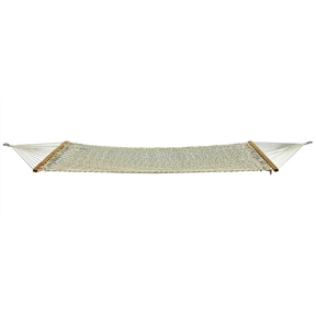 Heavy Duty Cotton Rope Hammock with Carry Storage Bag, TSH416012 :  Large enough for two, this Heavy Duty Cotton Rope Hammock with Carry Storage Bag features an 82-inch x 56-inch bed made of cool, comfortable, large-diameter cotton ropes. French-braided edges contribute strength. Weight limit is 500 pounds. Other features include hardwood spreader bars and sturdy, welded suspension rings. Overall, the hammock measures 120 inches x 57 inches. It comes with a heavy-duty carry/storage bag with straps, full-length zipper, and information panel. 120 x 57 full size, 82 x 56 bed size