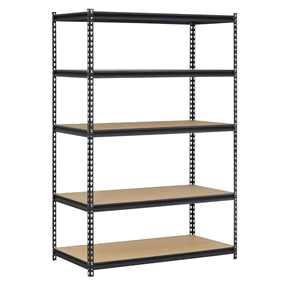 """Heavy Duty Black Metal Storage Rack Shelving Unit with 5 Adjustable Shelves, ESU84915 :  This Heavy Duty Black Metal Storage Rack Shelving Unit with 5 Adjustable Shelves has a frame made of steel for strength with a smooth black finish for resistance to corrosion, five adjustable particle board shelves, and a 4,000lbs. capacity when the weight is evenly distributed across all shelves. It is suitable for organizing and storing items. The shelves are supported by double-riveted beams and braces for strength, and adjust in 1-1/2"""" increments to accommodate items of varying heights. The posts on this shelving unit have a two-piece design so it can be assembled vertically to create one 72 x 48 x 18 inch (H x W x D) unit, or assembled horizontally to create one 36 x 48 x 18 inch (H x W x D) unit with two shelves, and one 36 x 48 x 18 inch (H x W x D) unit with three shelves. (H is height, the vertical distance from lowest to highest point; W is width, the horizontal distance from left to right; D is depth, the horizontal distance from front to back.) This shelving unit's rivet lock design requires no nuts or bolts for assembly. Assembly instructions are included, tools for assembly are not included."""