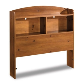 This fashionably functional, clever Twin size Bookcase Headboard in Sunny Pine Finish features open storage cases and is definitely a smart addition to this 6-piece bedroom collection. 2 divided cubbies with full-length top shelf; 2 holes for running electrical cords; Accommodates twin-size mattress and box spring.