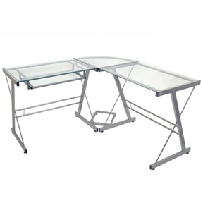 Architectural in styling and unmistakably modern, this Modern Corner Computer Desk in Metal and Glass provides ample workspace without weighing down the room. Durably fashioned from powder-coated steel tubing and tempered safety glass, the desk has an L-shape that fits neatly into corners and makes working more efficient. A sliding keyboard tray can attach to either side of the L, and a separate CPU stand is also included. Durable construction; Keyboard can mount to either side.