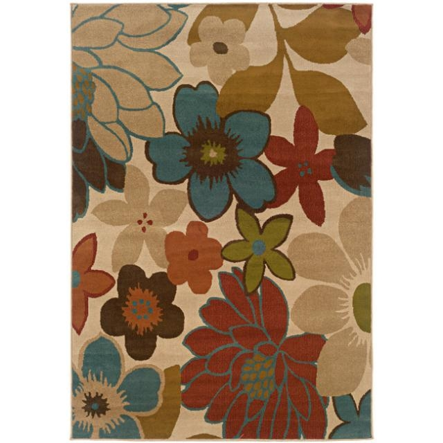 Ivory Multicolored Floral Design Area Rug (5' x 7'6),  IFR5FTX76 :  Machine-woven of durable polypropylene, this Ivory Multicolored Floral Design Area Rug (5' x 7'6) features a stunning floral pattern and rich hues of beige, blue, green and rust. A soft, cozy design highlights this allergen-free rug. All rug sizes are approximate. Due to the difference of monitor colors, some rug colors may vary slightly. We try to represent all rug colors accurately. Please refer to the text above for a description of the colors shown in the photo. Tip: We recommend the use of a non-skid pad to keep the rug in place on smooth surfaces. Style: Casual; Primary color: Ivory; Pattern: Floral.
