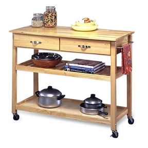 This Modern Kitchen Cart Utility Table with Locking Casters Wheels is constructed of a sturdy, solid wood in a Natural finish. This kitchen cart features an adjustable shelf that can also be used as a wine rack and 2 utility drawers. This cart also has a brushed steel kitchen towel holder that holds your towel right within your hand's reach. This cart is equipped with heavy duty locking rubber casters, so you can easily move it from the kitchen to the dining room.