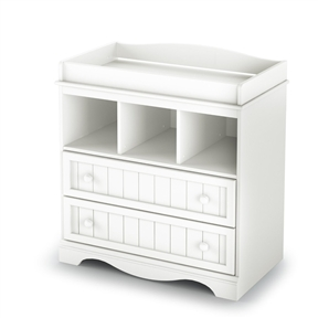 This White Wood Baby Diaper Changing Table with 2 Drawers offers you country-style changing table in a Pure White finish. It features rounded safety corners for your baby's safety and comfort. Two practical drawers and three open storage compartments keep everything you need to care for your little one within easy reach. Interior drawer dimensions: 30-1/2-inch wide by 14-1/4-inch front to back. This product is manufactured in compliance with consumer health and safety laws and ASTM standard F2057. The glides are made of polymer and include dampers and catches, creating a secure environment for little ones. Measures 35-inch wide by 20-inch deep by 37-inch high. It is delivered in one box measuring 40-1/4-inch by 23-1/4-inch by 7-1/4-inch and weighing 93-pounds. This product has been designed to match most Pure White finish cribs on the market today. Also available in a Espresso finish. The back surface is not laminated. The changing pad and accessories are not included.