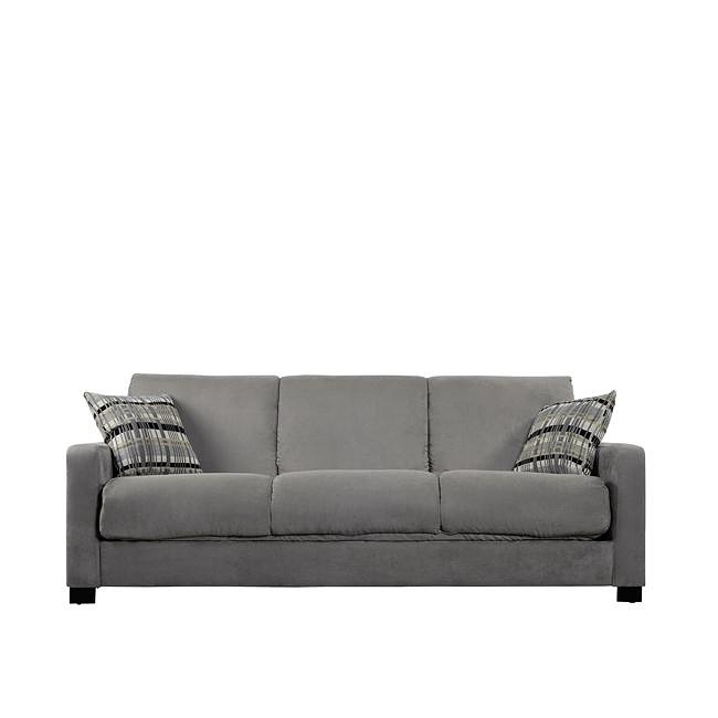 Comfortable and stylish, the transitional Trace Convert-a-Couch futon sofa features high performance microfiber and a three position hinge. The futon sofa is stain-resistant and works well in any decor. Upholstery color: Sage green; Legs: Tapered wooden legs with an espresso finish; Extra thick back cushioning; 10-inch pillow top seat cushion for extra comfort; Metal-to-metal connections for strength and durability; No bar in the back for added sleeping comfort; Upholstered back and arms for center of the room placement; Cushion accommodates full size sheets for sleeping; Innovative engineering and design enables this sofa to fit through an 8-inch opening; Instructions and tools for assembly included; Eco-friendly and efficient product design uses less fossil fuel based components in construction and delivery; Various components are recyclable at the end of use; Assembly required.