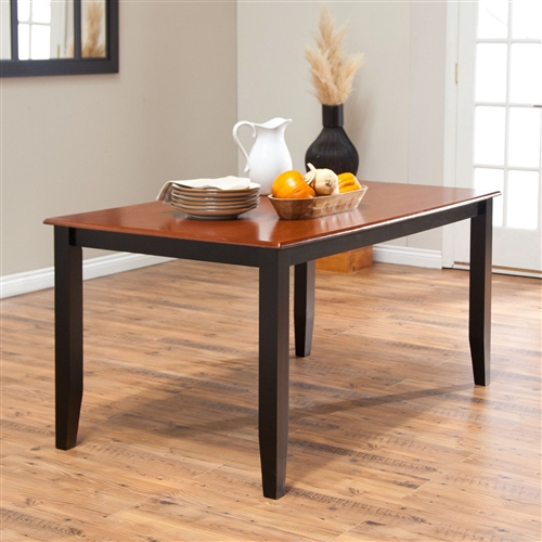 Let your dinners bloom with this Solid Hardwood Two Tone Cherry / Black Dining Table - Seats up to 6. This durably constructed dining table is perfect for family dinners, offering comfortable seating for six with plenty of elbow room. Crafted of solid hardwood in a rich cherry finish top with black base for a wonderful two tone effect. Table dimensions: 60L x 36W x 30H inches. No leaf offered with this table.