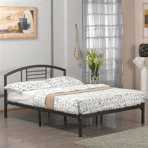 This Queen size Contemporary Metal Platform Bed Frame with Headboard in Bronze Finish would be a great addition to your home. Frame Material: Metal; Frame Material Details: Steel; Box Spring Required: No; Slats Required: Yes; Slats Included: Yes; Weight Capacity (Twin Size): 250 Pounds; Weight Capacity (Full, Queen Size): 500 Pounds; Country of Manufacture: China.
