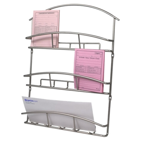 Keep your mail and your keys organized with this Metal Wall Mounted Letter Holder Mail Sorter Organizer in Satin Nickel. The holder has numerous slots for mail and five hooks to keep your keys on. The stylish Euro design will compliment any contemporary decor. Organize your message center in style!