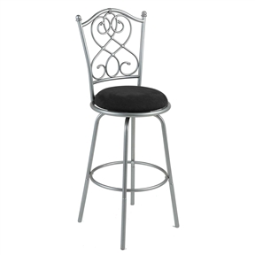 Style and quality are still found in this Brushed Silver Metal 30-inch Barstool with Black Microfiber Swivel Seat. The muted silver powder-coated finish is stunningly beautiful. The delicate scroll work and finial tipped vertical back spindles add all the design needed. The black microfiber seat swivels and is nicely padded and oversize for comfort. Lacquer coated to ensure years of maintenance free use: Simply wipe with a damp, soft cloth; The black microfiber seat is stain guarded for easy clean up with water; Set includes: One (1) barstool; Materials: Powder-coated steel, microfiber; Finish: Muted silver; Upholstery color: Black.