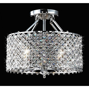 With this Chrome & Crystal 4 Light Round Ceiling Chandelier you can Add an elegant touch to your home with this round ceiling chandelier. This four-light fixture features glittering crystals and a sleek chrome finish.