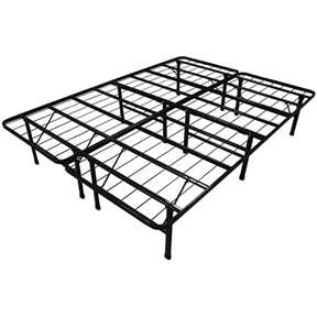 This King-size Duramatic Steel Folding Metal Platform Bed Frame is a heavy-duty steel wire mesh support, serves as a sturdy, squeak-free mattress support system that will not sag nor bend. The Durabed folds up neatly for easy storage and is lightweight for easy transport. Materials: Steel; Finish: Black. Can be used with or without a box spring foundation. Boasts twelve sturdy support legs to handle up to 2550 pounds of distributed weight; DuraBeds are strong enough to withstand jumping, yet light enough to be carried up the steps; Sleeps two adults very generously; Fits a standard king-size mattress which is 78 inches wide x 80 inches deep; Once folded at 40 inches long x 41 inches wide x 6 inches thick, the DuraBed is compact enough to fit into any closet or car or make it around any corner.
