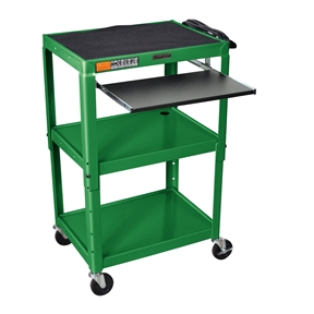 "This Green Steel Mobile Stand Up Computer Desk Workstation is height adjustable in 2"" increments. Includes hand holes for easy mobility. Application Options: Home Office, Office; Product Category: AV Carts; Style Options: AV Cart, Projector Cart; Type Options: Computer Desk, Workstations."