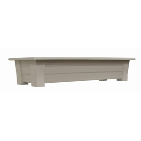 1.25 Cubic Foot Rectangular Garden Planter in Desert Clay Resin - Made in USA, RDP595481 :  This 1.25 Cubic Foot Rectangular Garden Planter in Desert Clay Resin - Made in USA provides an extra-large, sturdy deck box - perfect to add color to the deck or patio. Stronger than typical planters, the thick walls will not bend when planted. The planter includes a plug for easy drainage. Rated to hold 150lbs. UV inhibitor allows colors to stay bright and attractive in the sun; Planter holds 1.25 cubic feet of potting soil;  Drainage Holes: Yes; Recommended Plant Type: Flowers; Herbs; Mounting Brackets Included: No; Outdoor: Yes; Product Type: Rail planter; Shape: Rectangle; Drainage Holes: Yes; Fade Resistant: Yes; Liner: No; Number of Feet: 4; Mounting Brackets Included: No; Handles: No, Illuminated: No; Assembly Required: No;   Product Warranty: One year warranty on manufacturers' defects.