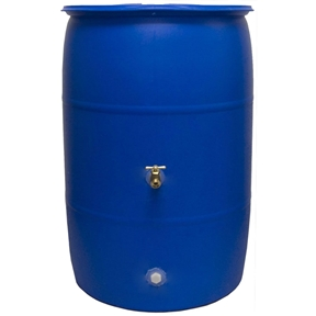 55-Gallon Rain Barrel in Recycled Blue Plastic with Brass Spigot, GIB559297 :  Water is scarce during the summer months and that's when 40-Percent of water is spent outdoors. Why not save your precious resources by using this 55-Gallon Rain Barrel in Recycled Blue Plastic with Brass Spigot. The Big Blue holds up to 55 Gallons of pure, rainwater. Your plants will enjoy the fresh water supply and you won't have to waste your money on running hoses. The Big Blue is a recycled, food-grade rain barrel that's been saved from the landfills and is ready to help you save on your spending. With its low price, the Big Blue 55 Rain Barrel will pay for itself several times over in water bill savings and is even cheaper and easier to maintain than Do-It-Yourself models. Make the choice to save the planet and your money with the Big Blue 55 Rain Barrel. Screen to keep out debris and insects; Two optional locations for spigot placement, Change them anytime you want; Child and pet safe.