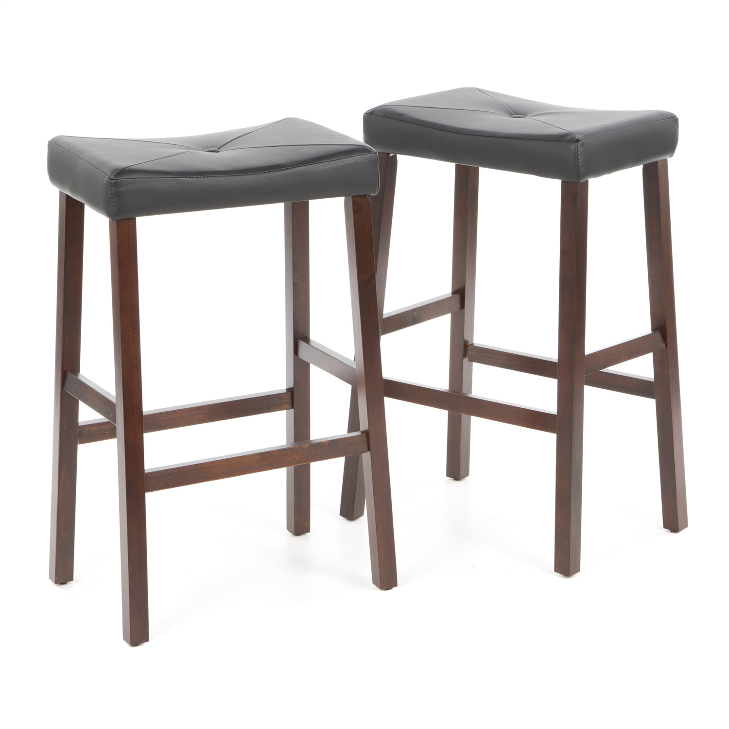 """Comfort and style combined. This Set of 2 - Upholstered Faux Leather Saddle Seat Barstool in Mahogany features solid hardwood construction. The cushioned saddle seat is upholstered in faux leather vinyl, that is stain and spill resistant. Four solid hardwood leg stretchers for durability; Style: Traditional; Seat Height Type: Bar (28""""-33""""); Seat Style: Saddle; Frame Finish: 1: Black; Frame Finish: 2: Cherry; Frame Finish: 3: Mahogany; Seat Color: Black; Leg/Base Type: 4 legs; Footrest Included: Yes."""