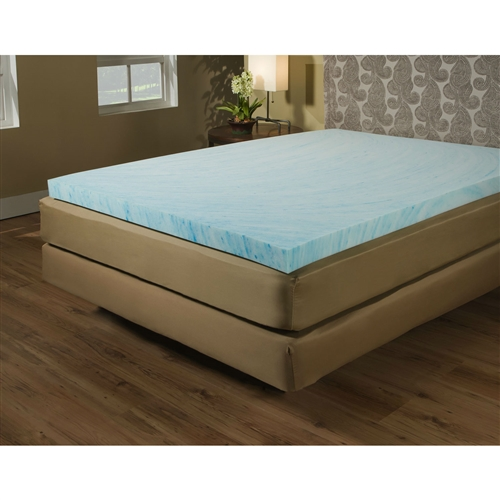 Give your body the ideal balance of comfort and protection with this Twin size 2-inch Blue Gel Memory Foam Mattress Topper - Made in USA. It is available in an ample range of sizes to suit your personal taste. The 100% blue swirl-colored gel surface on the mattress topper provides your body with excellent relaxation, as well as transferring heat away from your body. This mattress topper also offers relief from various kinds of pressure points. Crafted from 100% pure polyurethane, the Twin size 2-inch Blue Gel Memory Foam Mattress Topper - Made in USA is sturdy and lasts long. This mattress topper meets all flammability standards. Water Resistant: No; Stain Resistant: No; Bed Bug Resistant: No; Hypoallergenic: Yes.