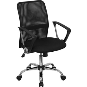 This Black Mid-Back Mesh Office Chair with Chrome Finished Base shows off a distinct appearance with its curved back and chrome framed arms. The breathable mesh back is an added bonus for keeping your back cool when sitting for long periods of time. Chair features attractive chrome arms with polyurethane arm caps. Passive Lumbar Support B and; Spring tilt control mechanism.