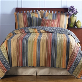 This King size 100% Cotton Quilt Set with Brown Orange Red Blue Stripes would be a great addition to your home. It is machine washable and made of 100% cotton. Channel quilting provides a rich surface texture; With a broad brushstroke of tasteful tones to compliment any bedroom theme; Chic and versatile with warm and cool colors; Sham Material: Cotton; Reverse Side Material: Cotton; Commercial Use: Yes; Country of Manufacture: China.