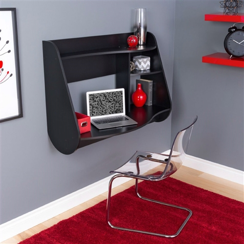 With its sleek look and innovative space-saving design, this Modern Wall Mounted Laptop Computer Desk in Black Wood Finish is a must-have for any bedroom, home office, or work space. This piece suits any space, big or small, with wood and laminate construction available in your choice of finish. It directly hangs on any wall in any room with an easy, lightweight design. Boasting major contemporary flair, this piece features two shelves for keeping office essentials and other mementos. It features cord management to avoid clutter.