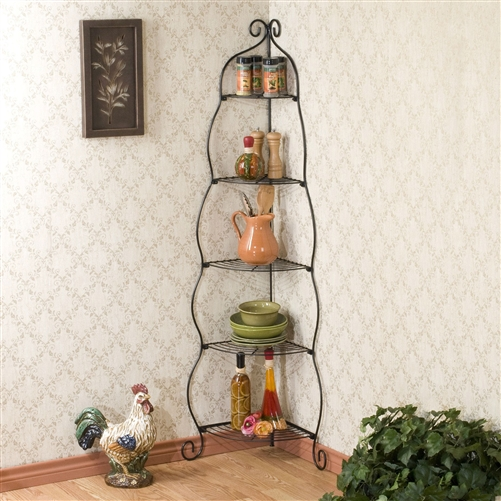 Raise your corner to its full potential with this Corner Bakers Rack 5-Tier Shelves with Decorative Metal Scrollwork. This beautiful stand is made of black scrollwork metal that's tiered with five levels of shelf space. The unique design makes it great for turning drab corners into incredible display areas for your prized possessions. It's sturdy, it's elegant, and it looks great in any room. Sleek black finish.