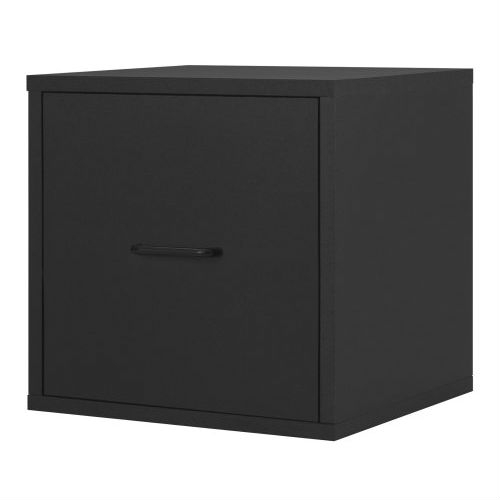 This Modular File Cabinet Storage Cube in Black Wood Finish is practical and functional. Perfect for the home office. Holds letter size hanging files. Easy sliding drawer. Overall size 15-inch W by 15-inch D by 15-inch H. Frame is made out of solid wood, each panel finished with PVC laminate. Sturdy and stackable for maximum durability. Holds up to 200-pounds per assembled unit. Hollow-core construction makes the cube weigh 50-percent less then traditional particle board. Packed pre-finished, easy assembly and installation. Unlimited combination options so you can create exactly the system you need. Packed pre-finished, easy assembly and installation.