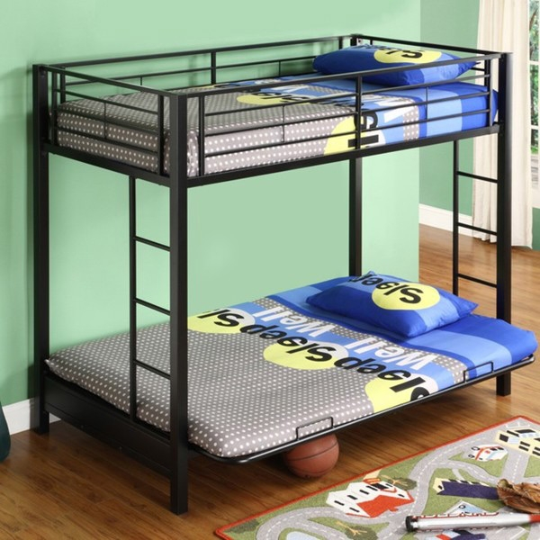 Black Metal Twin over Full-size Futon Bunk Bed Frame, SBTFBF2971 :  This Black Metal Twin over Full-size Futon Bunk Bed Frame constructed with durable steel framing. Designed for safety, bed includes full length guardrails and a sturdy integrated ladder. Black Metal Twin over Full-size Futon Bunk Bed Frame. Futon converts into full-size sleeper to accommodate overnight guest or a growing family. Attractive, lead-free, powder coat finish. Sturdy construction conforms to the latest consumer product safety standards.