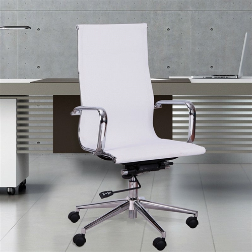 This White Mesh High Back Home Office Desk Chair with Modern Swivel Seat would be a great addition to your home. It has a white color and is made of mesh.