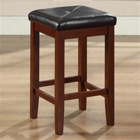Comfort and style combined. This Set of 2 - Vintage Mahogany Bar Stools with Faux Leather Cushion Seat features solid hardwood construction. The cushioned seat is upholstered in simulated leather, that is stain and spill resistant. Generous seating area for comfort; ISTA 3A certified; Foam cushioned seat; Seat upholstered in durable stain resistant simulated leather; Back: Backless; Style: Contemporary; Application: Residential; Foot Rest: Yes; Stool Base: 4 Legs; Seat Style: Square seat.