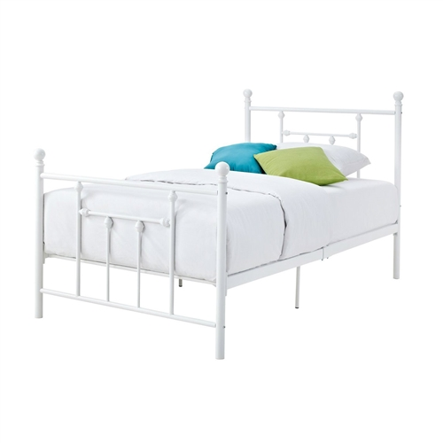 This Full-size White Metal Platform Bed with Headboard and Footboard is a show stopping piece that brings a contemporary yet Victorian look to any bedroom. With its white finish, dynamic design and round finial posts, this bed is suitable for any room décor. The simple rail design and higher profile headboard add charm and elegance. Made of solid metal, the bed includes metal slats and supporting legs for added support, comfort and durability. The Full-size White Metal Platform Bed with Headboard and Footboard is a must have in any bedroom! Underbed Storage: No; Slats Required: Yes; Slats Included: Yes. Mattress sold separately; Does fit a standard Queen size mattress; Warranty: 1 Year. Country of Manufacture: China.