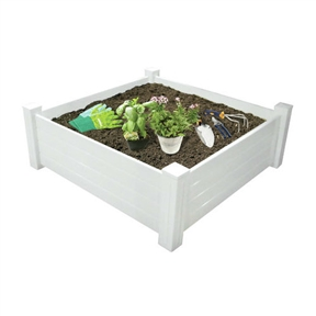 4' X 4' Extra Tall Outdoor White Raised Garden Planter Bed, JARAISED88312 :  The perfect tool to help you grow whatever you imagine! Gardening has never been so easy. Just fill this 4' X 4' Extra Tall Outdoor White Raised Garden Planter Bed with the right soil for your gardening project, flower, fruit, vegetable or landscaping. Made of the highest quality heavy gauge PVC for years of use. Also makes a great sandbox! Drainage Holes: Yes; Recommended Plant Type: Trees; Flowers; Plants; Herbs; Vegetables/Fruits; Water Resistant: Yes; Mounting Brackets Included: No; Outdoor: Yes.
