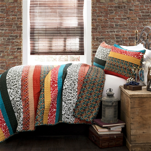 Free spirited, untamed, rustic and yet chic, this King size 3-Piece Quilt Set in Modern Colorful Stripe Geometric Floral Pattern is a perfect piece of modern time creativity. Unique designs in bright and colorful floral and geometric patterns run across the quilt surface with back in geometric pattern. Made from 100% cotton, this set is soft to the hand and has wonderful quilting details.