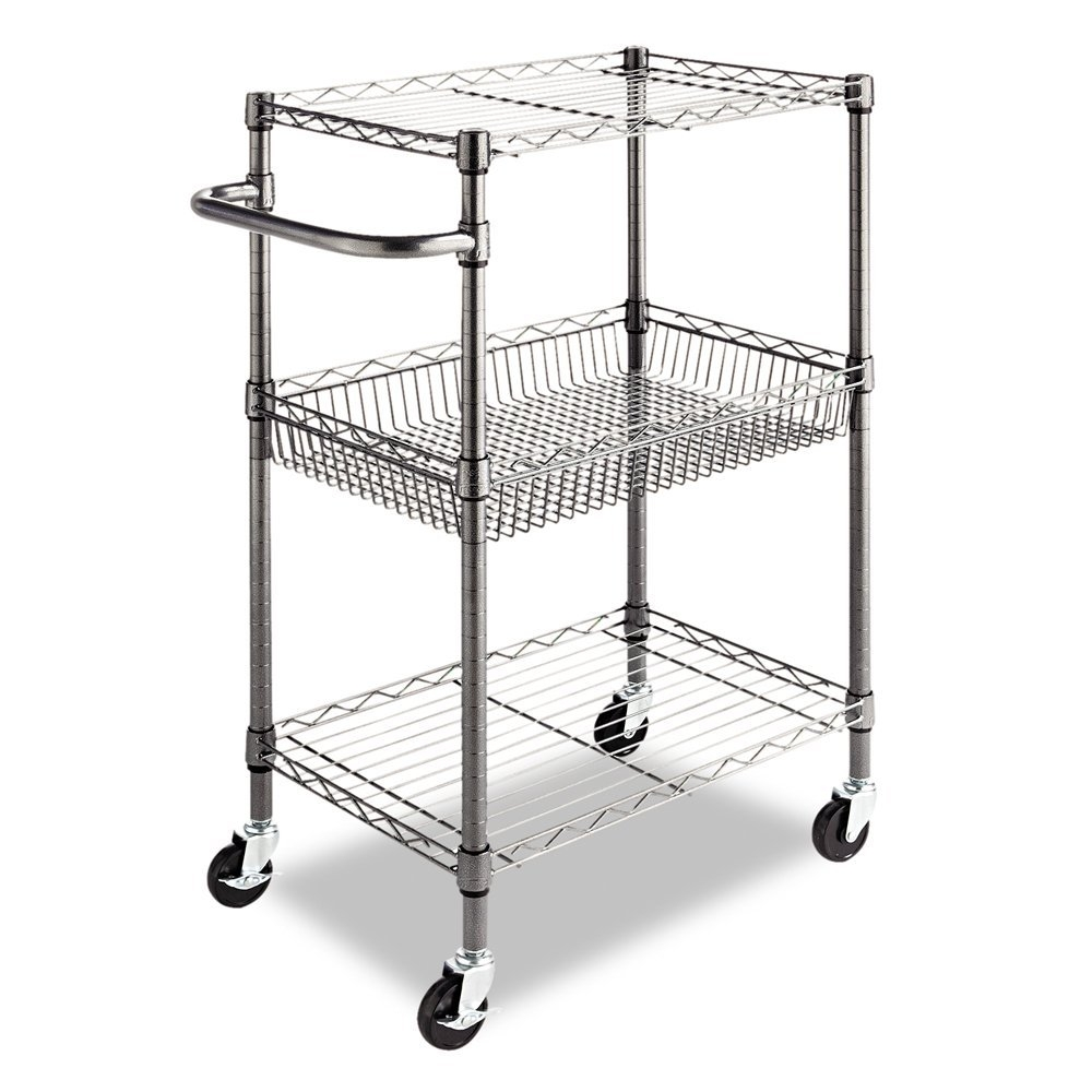 This 3-Tier Metal Kitchen Cart / Utility Cart with Adjustable Shelves and Casters is an ideal storage solution for industrial and commercial use. Snap-together design assembles in minutes. Strong welded wire construction provides exceptional strength and stability. Open design allows air circulation and reduces dust build-up. Finish on surface prevents corrosion in wet, humid environments. Safeguards for freezer, restaurant, food service, indoor/outdoor or other wet/dry storage requirements. Rolls with ease on four casters (two locking).