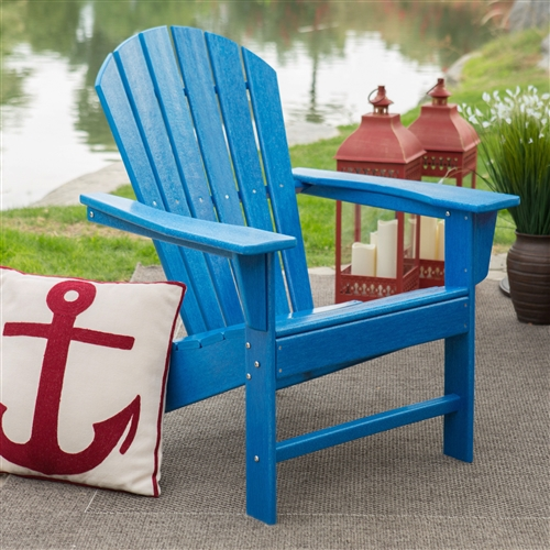 Weather Resistant Resin Heavy-Duty Resin Adirondack Chair in Blue, BLAWR168515 :  You've seen these beauties at high-end outdoor stores, and now you can get the same look for less when you choose this Weather Resistant Resin Heavy-Duty Resin Adirondack Chair in Blue. We designed this chair to withstand season after season of the elements, without warping, fading, rusting, or splintering. That's because although it looks like it's made of wood, it's actually made from high density polyethylene, a plastic that's so sturdy it's practically maintenance-free. Just hose it off and enjoy it all year long. Stainless steel hardware ensures its durability as well. Plus, you'll love the true, deep colors that will never fade in the sun! This Adirondack chair will provide relaxing comfort for years to come. Classic Adirondack style; Surface texture resembles cedar wood.