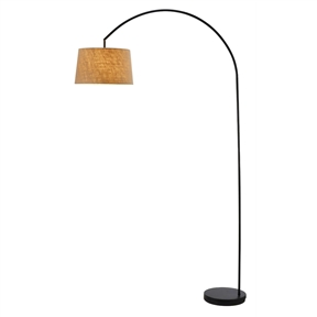 Modern Arching Floor Lamp in Matte Black with Taupe Burlap Fabric Drum Shade, AGLB10471 :  This Modern Arching Floor Lamp in Matte Black with Taupe Burlap Fabric Drum Shade is the essence of the contemporary design. The shade adjusts vertically to allow light to be directed. Takes (1) 150-Watt bulb or CFL equivalent, making this a great lamp for overhead lighting. Convenient on/off step switch. The heavily weighted base gives extra stability. This beautiful arc lamp is available in satin steel finish with a woven natural linen shade or in a matte black finish with a woven weave taupe colored burlap shade.