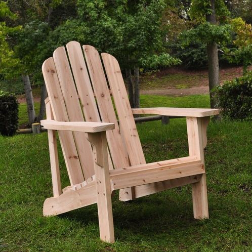 Natural Cedar Wood Adirondack Chair, SCMAD8714 :  This Natural Cedar Wood Adirondack Chair features the traditional, wide arm rests, curved seat, and high back support that makes the Adirondack chair a pleasure to sit in. Available in several colors; Made of premium, high quality yellow Cedar wood known for its natural resistance to moisture, decay, and insect damage; Rust resistant galvanized steel hardware; Functional and practical to use it indoors and out on patios, decks and lawns; Unfinished for your own styling; Partial assembly is required; Application: Residential; Features Options: Eco-Friendly; Other: Quick Shipping, We Recommend; Style: Traditional.