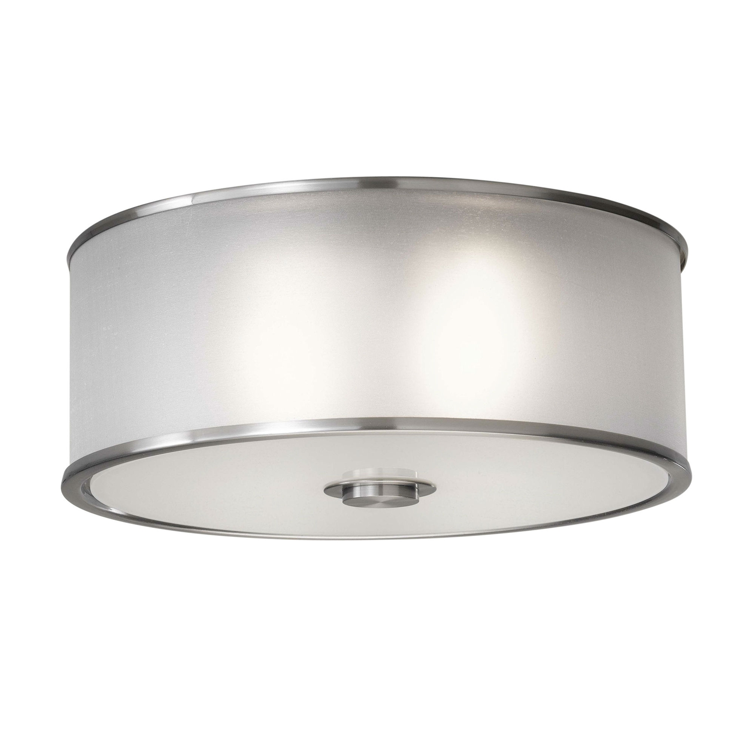 This Modern Flush Mount Round Brushed Steel Ceiling Light would be a great addition to your home. It has a silver organza hardback shade and a steel construction. Accommodates 2x60W medium A19 bulbs (not included); Voltage: 120V; Product Type: Flush mount. Shade Material: Fabric; Shade Color: 1: Brown; Shade Color: 2: Silver; Shade Shape: Drum/Cylinder. Room Use: Kitchen; Bathroom; Bedroom; Entry/Foyer; Living room; Office. Water Resistant Details: UL listed for damp locations; Number of Lights: 2; Bulb Type: Incandescent. Bulb Shape: A19; Bulb Included: No; Wattage per Bulb: 60; Voltage: 120; Style: Modern; Light Direction: Downlight; Ambient; Country of Manufacture: China; Product Warranty: 1 Year. Damp, Dry or Wet Location Listed: Damp; UL Listed: Yes; cUL Listed: Yes; Energy Star Compliant: No.