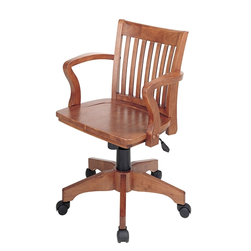This Classic Wooden Bankers Chair with Wood Seat and Arms would be a great addition to your home. It has a steel base and carpet casters. Classic Wooden Bankers Chair with Wood Seat and Arms