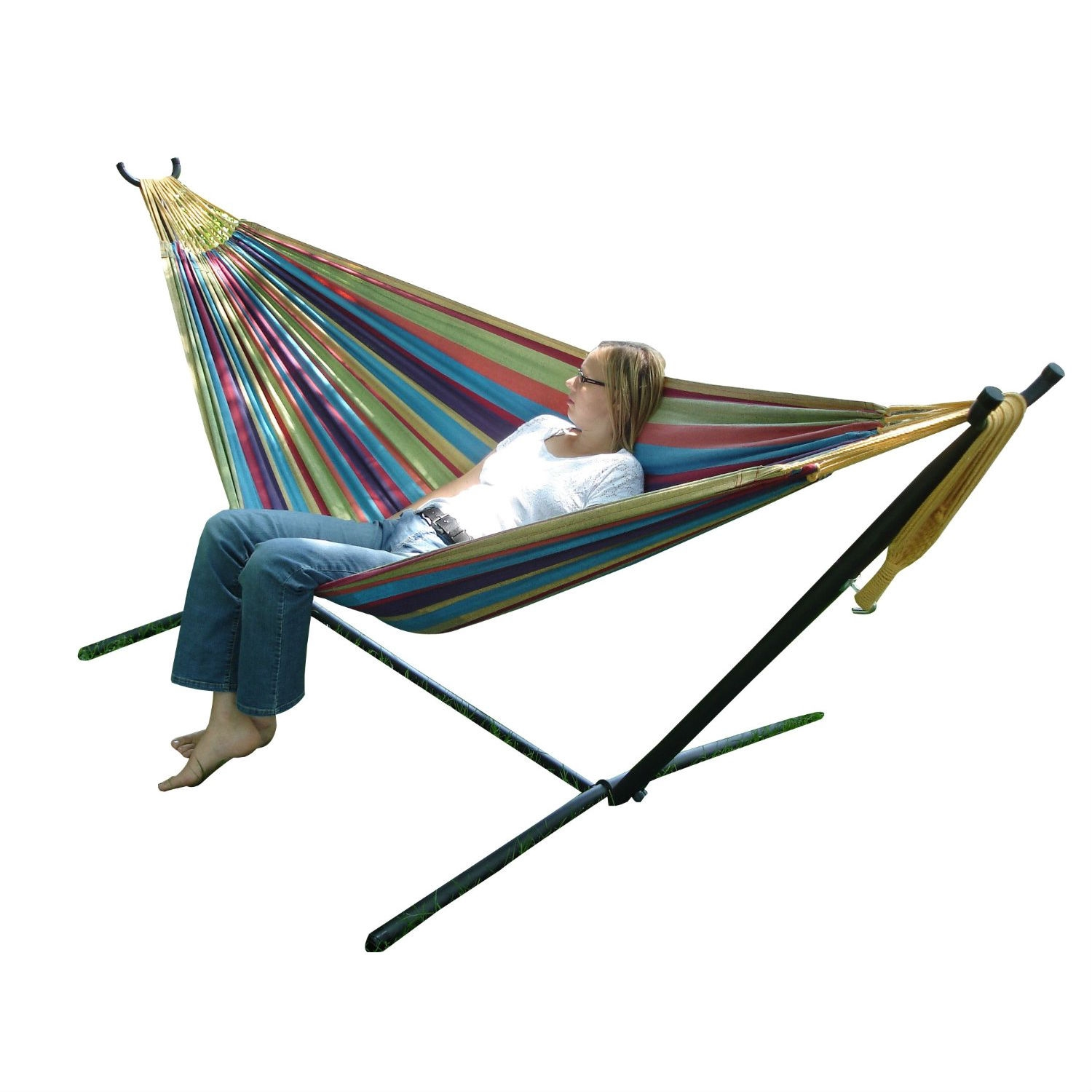 Tropical Fabric Double Hammock with 9-Foot Steel Stand, VDHWS133 :  A top choice for couples lounging, this Tropical Fabric Double Hammock with 9-Foot Steel Stand comes with a space-saving steel stand and a double hammock in your choice of cotton or Sunbrella fabric. You'll enjoy the freedom that the space-saving 9-foot stand provides by allowing you to set up your hammock in the most convenient location -- no longer having rely on tying your hammock to two trees. And both the Sunbrella and cotton hammocks accommodate two adults. The well-designed heavy duty steel stand gives you a sense of security to enjoy your slumber, and it's ideal for this non-spreader bar style of hammock. Created for long life and stability, it's made from heavy gauge steel and it easily assembles in minutes -- no tools required. Weighing in at a total of 35 pounds, this entire hammock combo can be easily maneuvered around your backyard or patio. Powder coated in an oil rubbed bronze finish, the stand measures 9 feet in length and all ends are finished with plastic caps. It's also easy to break down for storage or travel, and it comes with its own carrying case.