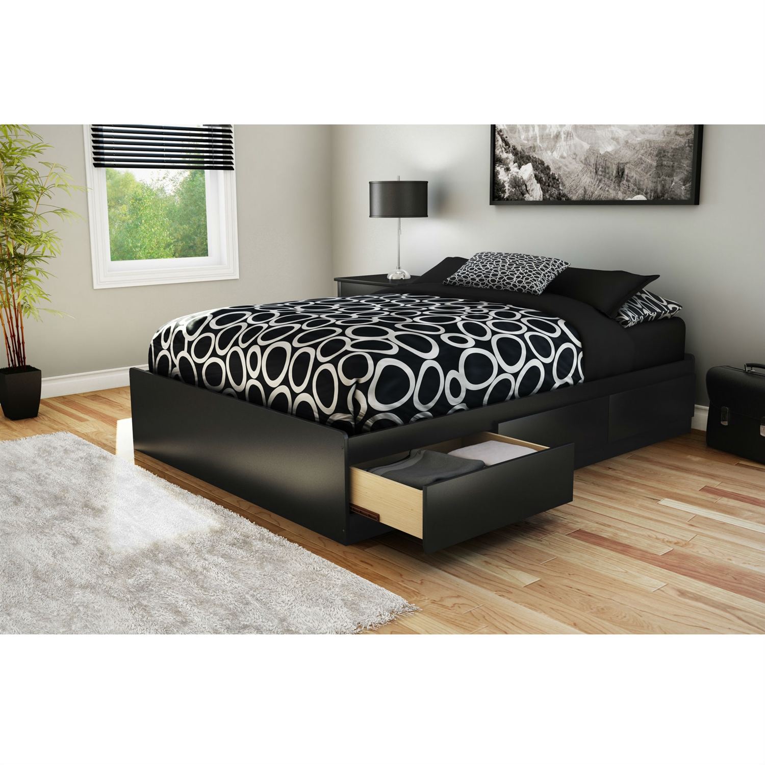 Full size Modern Platform Bed with 3 Storage Drawers in Black, SFPB27150 :  This Full size Modern Platform Bed with 3 Storage Drawers in Black would be a great addition to your home. It is made of non-toxic materials and there is no box spring required. Drawers opened easily without the need for handles thanks to the cut-out at bottom of the drawer fronts; Features 3 practical drawers (all on the same side); Supports up to maximum weight of 500lbs. Equipped with polymer glides include dampers and catches; Recycled CARB compliant laminated particle board construction; Manufacturer provides 5 year warranty against furniture defects or workmanship; Number of Underbed Storage Drawers: 3; FSC Certified: Yes; Assembly Required: Yes; EPP Compliant: Yes; CPSIA or CPSC Compliant: Yes; CARB Compliant: Yes; Frame Material: Particle board; ISTA 3A Certified: Yes; General Conformity Certificate: Yes; Underbed Storage: Yes; Country of Manufacture: Canada. Eco-Friendly: Yes; Product Care: Wipe clean with dry cloth; Drawer Interior Height - Top to Bottom: 4.375 Inches; Drawer Interior Width - Side to Side: 22.625 Inches; Drawer Interior - Depth Front to Back: 18.5625 Inches.