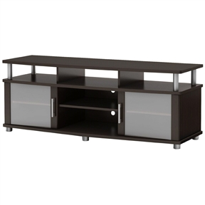 This Contemporary TV Stand in Dark Brown Chocolate Finish combines curved lines, metal accents and frosted glass for popular contemporary style. It is a perfect blend of form and function, featuring both open and closed storage options and a large surface perfect for TVs of 60-inch or less. The living room has never been so tidy and organized. Behind both doors and in the center, you will find 2 storage spaces divided by an adjustable shelf and under the top, 3 other open spaces. Its weight capacity is 100-pound. Also available in pure black finish. The back surface is not finished and the accessories are not included.