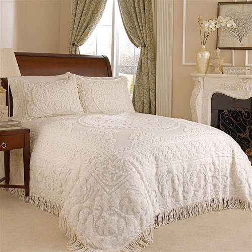 King size 100% Cotton Chenille Bedspread in White Ivory Light Beige Ecru with Fringe Sides: Product Code: KMBS51982151 : The king size cotton Chenille Bedspread features sophisticated style and old-fashioned charm. Made with 100-percent cotton, this Chenille bedspread has a medallion and swirling design, bottom bell corners and fringe edges on three sides. Back is color-matched. Machine wash separately. Imported. Chenille bedding brings quaint charm to your room.
