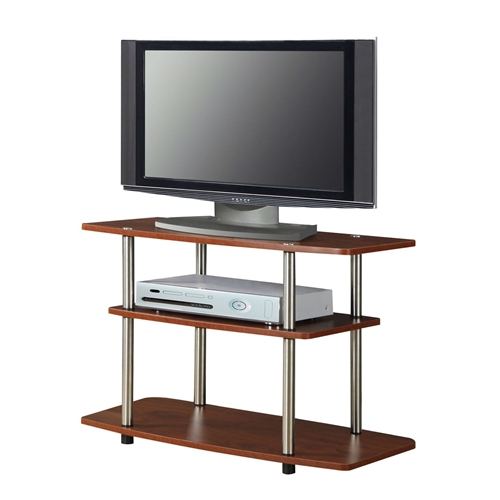 This Modern Wood and Metal TV Stand in Cherry Brown Finish will coordinate nicely with any décor. You can put it together from start to finish in minutes and the open shelf design allows ample space for display and components.