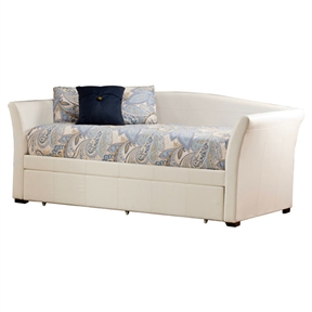 This Twin size White Faux Leather Daybed with Pull-out Trundle Bed makes for a prefect addition to a room with a contemporary or transitional setting. A quality wooden construction serves to make the bed robust and long-lasting. The plush faux leather upholstery makes the bed look elegant and charming. Present on the soft upholstered headboard and arms are subtle embroidered lines that serve to add definition to the bed's design. The Daybed can be obtained along with a trundle. Draw out the trundle when another place to sleep, that is comfortable as well as convenient, is required. Presence of slats makes placing of a twin size mattress easy. Product Care: Dust frequently using a clean cloth. Do not use wax or abrasive cleaners as they may damage the finish. Periodic checks are recommended to insure that all components are in proper position, tight and free from damage.