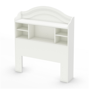 This Twin size Arched Bookcase Headboard in White Wood Finish has been made to meet your child's needs for years to come. This look, which will never go out of style, works well with various types of décor, so you can change your little one's bedroom to suit his or her tastes without having to think about replacing the furniture. It was designed with both maximum safety and a trendy look in mind, to give you a well ordered and highly practical room, set up to reflect the taste of the times. It creates a pleasant, comfortable space for your child. Furthermore, the large decorative moulding is really confirming its Country Style. It features 5 open storage spaces with a hole for wire management in center one. It is compatible with a metal frame (hardware not included). Also available in Espresso finish.